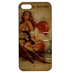 Vintage Newspaper Print Sexy Hot Gil Elvgren Pin Up Girl Paris Eiffel Tower Apple Iphone 5 Hardshell Case With Stand by chicelegantboutique