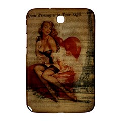 Vintage Newspaper Print Sexy Hot Gil Elvgren Pin Up Girl Paris Eiffel Tower Samsung Galaxy Note 8 0 N5100 Hardshell Case  by chicelegantboutique