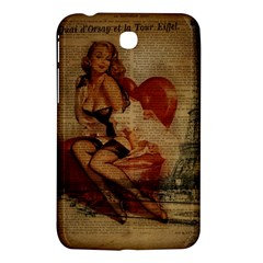 Vintage Newspaper Print Sexy Hot Gil Elvgren Pin Up Girl Paris Eiffel Tower Samsung Galaxy Tab 3 (7 ) P3200 Hardshell Case  by chicelegantboutique
