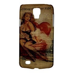 Vintage Newspaper Print Sexy Hot Gil Elvgren Pin Up Girl Paris Eiffel Tower Samsung Galaxy S4 Active (i9295) Hardshell Case by chicelegantboutique