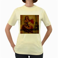 Vintage Newspaper Print Sexy Hot Gil Elvgren Pin Up Girl Paris Eiffel Tower  Womens  T Shirt (yellow)