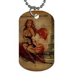 Vintage Newspaper Print Sexy Hot Gil Elvgren Pin Up Girl Paris Eiffel Tower Dog Tag (one Sided)