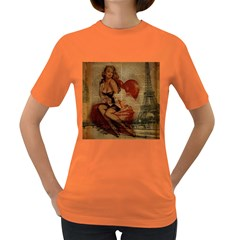 Vintage Newspaper Print Sexy Hot Gil Elvgren Pin Up Girl Paris Eiffel Tower Womens' T Shirt (colored) by chicelegantboutique