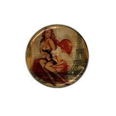Vintage Newspaper Print Sexy Hot Gil Elvgren Pin Up Girl Paris Eiffel Tower Golf Ball Marker 4 Pack (for Hat Clip) by chicelegantboutique