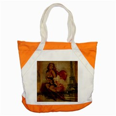 Vintage Newspaper Print Sexy Hot Gil Elvgren Pin Up Girl Paris Eiffel Tower Accent Tote Bag by chicelegantboutique