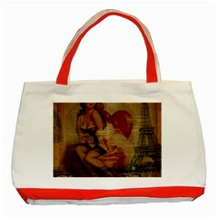 Vintage Newspaper Print Sexy Hot Gil Elvgren Pin Up Girl Paris Eiffel Tower Classic Tote Bag (red) by chicelegantboutique