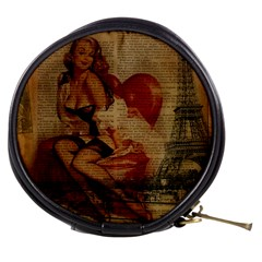 Vintage Newspaper Print Sexy Hot Gil Elvgren Pin Up Girl Paris Eiffel Tower Mini Makeup Case by chicelegantboutique