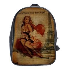 Vintage Newspaper Print Sexy Hot Gil Elvgren Pin Up Girl Paris Eiffel Tower School Bag (large) by chicelegantboutique