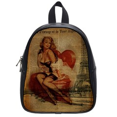 Vintage Newspaper Print Sexy Hot Gil Elvgren Pin Up Girl Paris Eiffel Tower School Bag (small) by chicelegantboutique