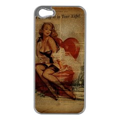 Vintage Newspaper Print Sexy Hot Gil Elvgren Pin Up Girl Paris Eiffel Tower Apple Iphone 5 Case (silver) by chicelegantboutique