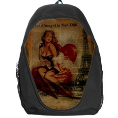 Vintage Newspaper Print Sexy Hot Gil Elvgren Pin Up Girl Paris Eiffel Tower Backpack Bag by chicelegantboutique
