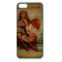 Vintage Newspaper Print Sexy Hot Gil Elvgren Pin Up Girl Paris Eiffel Tower Apple Seamless Iphone 5 Case (color) by chicelegantboutique