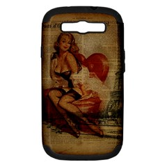 Vintage Newspaper Print Sexy Hot Gil Elvgren Pin Up Girl Paris Eiffel Tower Samsung Galaxy S Iii Hardshell Case (pc+silicone)