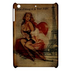 Vintage Newspaper Print Sexy Hot Gil Elvgren Pin Up Girl Paris Eiffel Tower Apple Ipad Mini Hardshell Case by chicelegantboutique