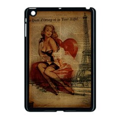 Vintage Newspaper Print Sexy Hot Gil Elvgren Pin Up Girl Paris Eiffel Tower Apple Ipad Mini Case (black) by chicelegantboutique
