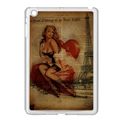 Vintage Newspaper Print Sexy Hot Gil Elvgren Pin Up Girl Paris Eiffel Tower Apple Ipad Mini Case (white) by chicelegantboutique