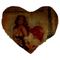 Vintage Newspaper Print Sexy Hot Gil Elvgren Pin Up Girl Paris Eiffel Tower 19  Premium Heart Shape Cushion by chicelegantboutique