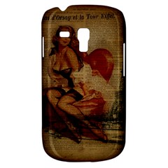 Vintage Newspaper Print Sexy Hot Gil Elvgren Pin Up Girl Paris Eiffel Tower Samsung Galaxy S3 Mini I8190 Hardshell Case by chicelegantboutique