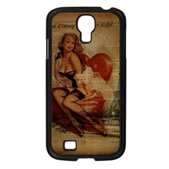 Vintage Newspaper Print Sexy Hot Gil Elvgren Pin Up Girl Paris Eiffel Tower Samsung Galaxy S4 I9500/ I9505 (black) by chicelegantboutique