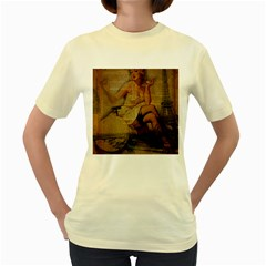 Vintage Newspaper Print Sexy Hot Gil Elvgren Pin Up Girl Paris Eiffel Tower  Womens  T Shirt (yellow) by chicelegantboutique