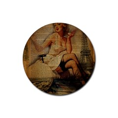 Vintage Newspaper Print Sexy Hot Gil Elvgren Pin Up Girl Paris Eiffel Tower Drink Coaster (round) by chicelegantboutique