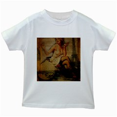 Vintage Newspaper Print Sexy Hot Gil Elvgren Pin Up Girl Paris Eiffel Tower Kids' T Shirt (white) by chicelegantboutique