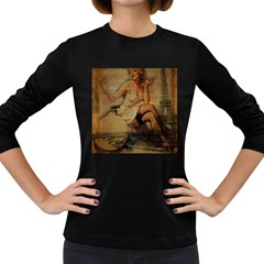 Vintage Newspaper Print Sexy Hot Gil Elvgren Pin Up Girl Paris Eiffel Tower Womens' Long Sleeve T Shirt (dark Colored) by chicelegantboutique
