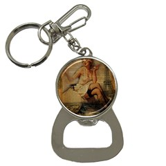 Vintage Newspaper Print Sexy Hot Gil Elvgren Pin Up Girl Paris Eiffel Tower Bottle Opener Key Chain by chicelegantboutique