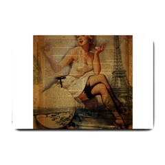 Vintage Newspaper Print Sexy Hot Gil Elvgren Pin Up Girl Paris Eiffel Tower Small Door Mat by chicelegantboutique