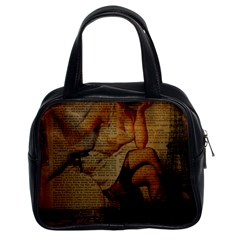 Vintage Newspaper Print Sexy Hot Gil Elvgren Pin Up Girl Paris Eiffel Tower Classic Handbag (two Sides) by chicelegantboutique