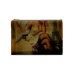 Vintage Newspaper Print Sexy Hot Gil Elvgren Pin Up Girl Paris Eiffel Tower Cosmetic Bag (Medium) by chicelegantboutique