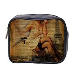 Vintage Newspaper Print Sexy Hot Gil Elvgren Pin Up Girl Paris Eiffel Tower Mini Travel Toiletry Bag (two Sides) by chicelegantboutique