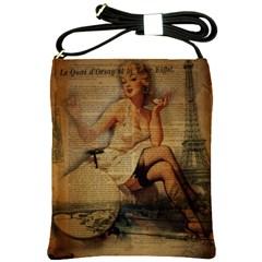 Vintage Newspaper Print Sexy Hot Gil Elvgren Pin Up Girl Paris Eiffel Tower Shoulder Sling Bag by chicelegantboutique