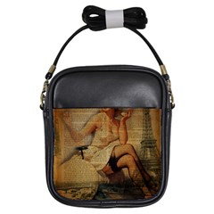 Vintage Newspaper Print Sexy Hot Gil Elvgren Pin Up Girl Paris Eiffel Tower Girl s Sling Bag by chicelegantboutique
