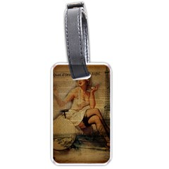 Vintage Newspaper Print Sexy Hot Gil Elvgren Pin Up Girl Paris Eiffel Tower Luggage Tag (two Sides) by chicelegantboutique