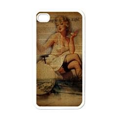 Vintage Newspaper Print Sexy Hot Gil Elvgren Pin Up Girl Paris Eiffel Tower Apple Iphone 4 Case (white) by chicelegantboutique