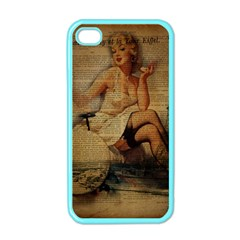 Vintage Newspaper Print Sexy Hot Gil Elvgren Pin Up Girl Paris Eiffel Tower Apple Iphone 4 Case (color) by chicelegantboutique