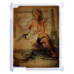 Vintage Newspaper Print Sexy Hot Gil Elvgren Pin Up Girl Paris Eiffel Tower Apple Ipad 2 Case (white) by chicelegantboutique