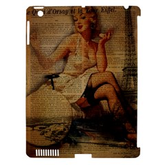 Vintage Newspaper Print Sexy Hot Gil Elvgren Pin Up Girl Paris Eiffel Tower Apple Ipad 3/4 Hardshell Case (compatible With Smart Cover) by chicelegantboutique