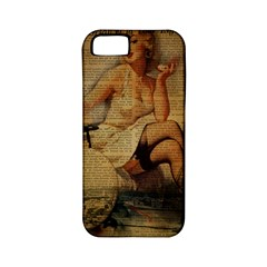 Vintage Newspaper Print Sexy Hot Gil Elvgren Pin Up Girl Paris Eiffel Tower Apple Iphone 5 Classic Hardshell Case (pc+silicone) by chicelegantboutique