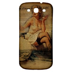 Vintage Newspaper Print Sexy Hot Gil Elvgren Pin Up Girl Paris Eiffel Tower Samsung Galaxy S3 S Iii Classic Hardshell Back Case by chicelegantboutique