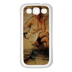 Vintage Newspaper Print Sexy Hot Gil Elvgren Pin Up Girl Paris Eiffel Tower Samsung Galaxy S3 Back Case (white) by chicelegantboutique