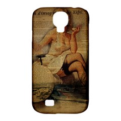 Vintage Newspaper Print Sexy Hot Gil Elvgren Pin Up Girl Paris Eiffel Tower Samsung Galaxy S4 Classic Hardshell Case (pc+silicone) by chicelegantboutique