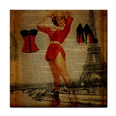 Vintage Newspaper Print Sexy Hot Gil Elvgren Pin Up Girl Paris Eiffel Tower Western Country Naughty  Ceramic Tile by chicelegantboutique