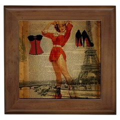Vintage Newspaper Print Sexy Hot Gil Elvgren Pin Up Girl Paris Eiffel Tower Western Country Naughty  Framed Ceramic Tile by chicelegantboutique