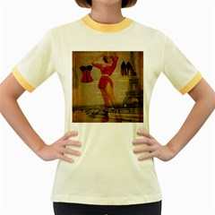 Vintage Newspaper Print Sexy Hot Gil Elvgren Pin Up Girl Paris Eiffel Tower Western Country Naughty  Womens  Ringer T Shirt (colored) by chicelegantboutique