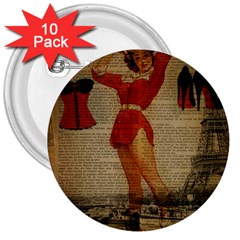 Vintage Newspaper Print Sexy Hot Gil Elvgren Pin Up Girl Paris Eiffel Tower Western Country Naughty  3  Button (10 Pack) by chicelegantboutique