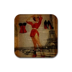 Vintage Newspaper Print Sexy Hot Gil Elvgren Pin Up Girl Paris Eiffel Tower Western Country Naughty  Drink Coaster (square) by chicelegantboutique