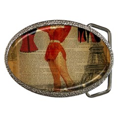 Vintage Newspaper Print Sexy Hot Gil Elvgren Pin Up Girl Paris Eiffel Tower Western Country Naughty  Belt Buckle (oval) by chicelegantboutique