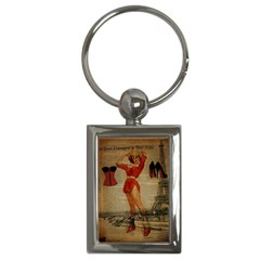 Vintage Newspaper Print Sexy Hot Gil Elvgren Pin Up Girl Paris Eiffel Tower Western Country Naughty  Key Chain (rectangle) by chicelegantboutique